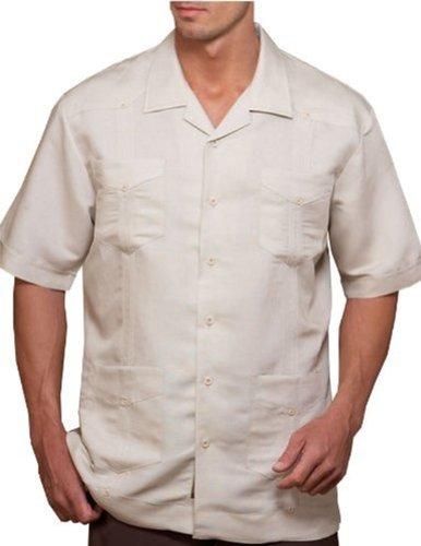 (Cubavera Four Pockets Rayon Blend Guayabera Shirt Natural Linen S)