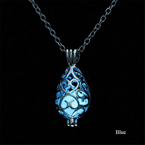 (KeyZone Girls Steampunk Fairy Teardrop Glow in The Dark Necklace Jewelry)