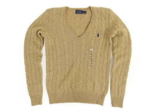 Polo Ralph Lauren Womens V-Neck Merino Wool Blend Sweater (X-Small, Dark Beige) ()