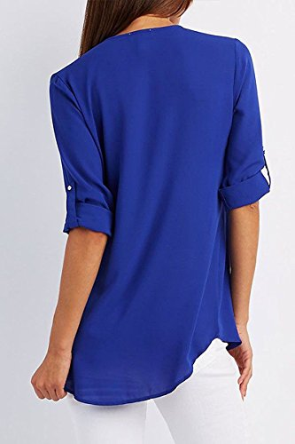 Manches Sexy Longues V Fonc Chemisier Femme Mode Pullover Blouse Tops Mousseline lgant Zipp Bleu Doux Col Printemps Minetom Tunique wFgq0Iwx