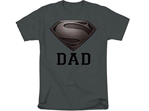Super Dad Shirt - DC Comics Superman Logo Super Dad Mens T-Shirt Tee Charcoal Large