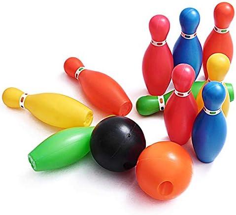 キッズスポーツ ボーリング ボウリング玩具セットゲームカラフルなキットスポーツ幼児知育玩具プラスチックボウリングボールピンパーティー好意12ピースギフト用キッズベビー男の子女の子 子供ボウリング玩具 (Color : As picture, Size : 15cm)