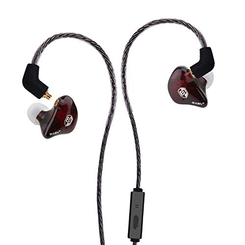 BASN Dual Driver Musicians in-Ear Monitor Headphones with Detachable MMCX Cable with Mic, Red