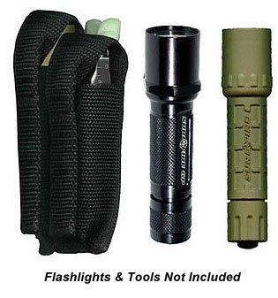 Flashlight Combo Sheath - Ripoffs 3 Pocket Combo Holster - Flashlight, Multi-tool, Utility Pocket CO75 (Side Clip)