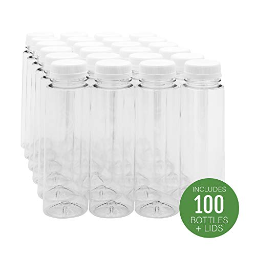 8-OZ Cylindrical Plastic Juice Bottles - Cold Pressed Clear Food Grade PET Bottles with Tamper Evident Safety Cap: Perfect for Cafes and Catering Events - Disposable and Eco-Friendly - 100-CT