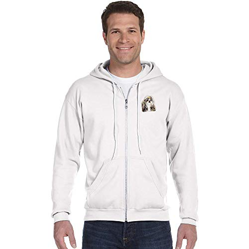 (Cherrybrook Breed Embroidered Anvil Full Zip Menss Hoodie - Small - White - Shih Tzu)