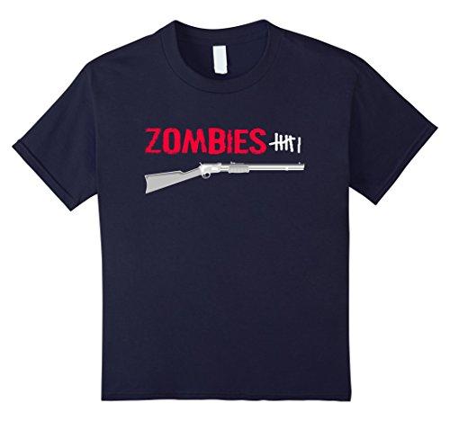 Kids Zombie Hunter Kill Tally T-shirt 10 Navy