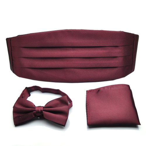 (PenSee Mens Formal Solid Pre-tied Bow Tie & Pocket Square & Cummerbund Set - Various Colors)