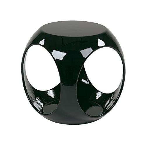 - Ave Six Slick High Gloss Finish Cube Occasional Table, Black