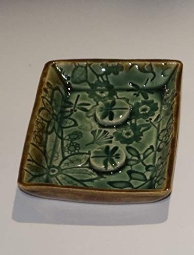 Soap dish, green, rectangular