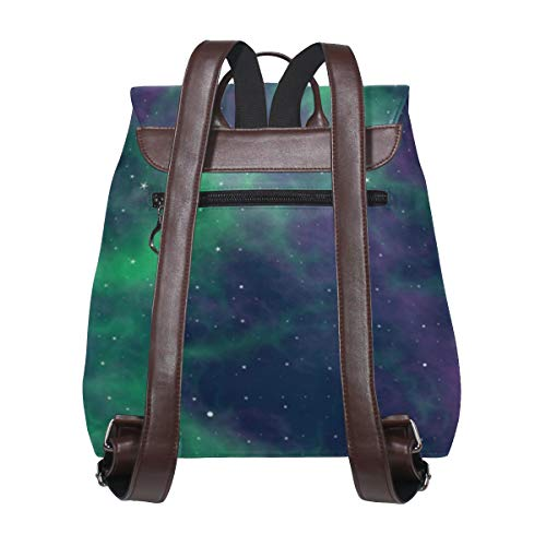 Kvinnor PU-läder stjärnor nebula universum konstnärlig ryggsäck handväska resa skola axelväska ledig dagväska
