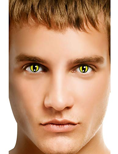 Men Women Multi-Color Cute Charm and Attractive Fashion Contact Lenses Cosmetic Makeup Eye Shadow Glamour Yellow Cat with Lens Case by Colourvue TM -