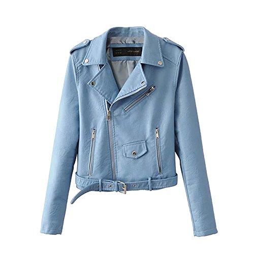 Hankyky Women Zipper Slim Biker Faux Leather Jacket Motorcycle PU Leather Jackets Punk Rock Coats