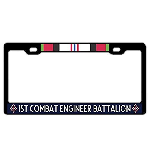License Plate Frame Holder Black, 1st Combat Engineer Battalion Afghanistan Veteran Alumimum Metal License Plate Frame 2 Holes with Screw for US ()