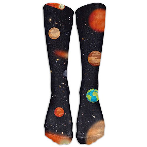 Space Planet Unisex Funny Printed High Compression Socks Soccer Stockings ()
