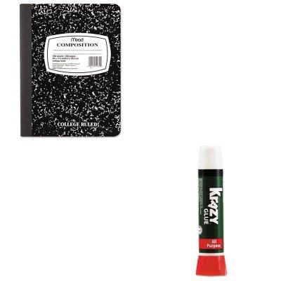 10 - Value Kit - Krazy Glue All-Purpose Liquid Formula (EPIKG58548R) and Mead Black Marble Composition Book (MEA09910) (Epikg58548r Krazy Glue)
