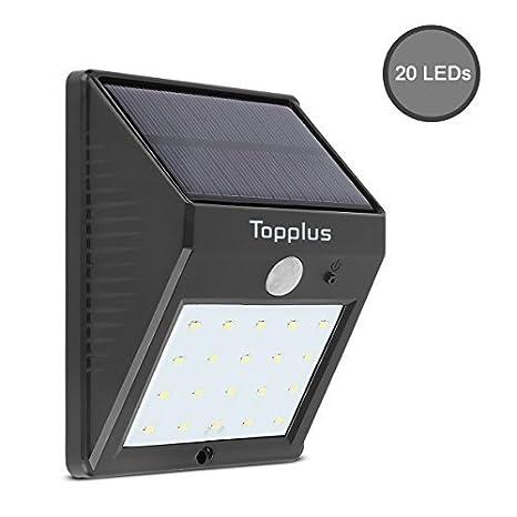 Luz Brillante de 20 LED Topplus con sensor de movimiento, Luz Solar Inalámbrica a Prueba