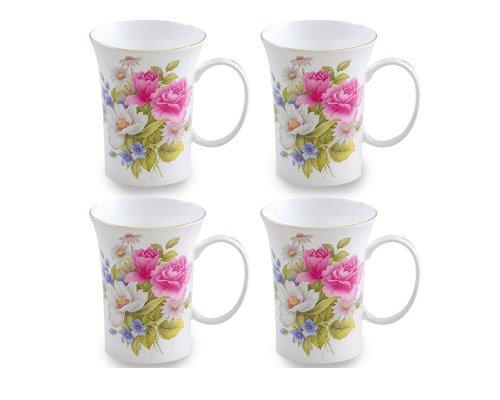 (Gracie Bone China 10-Ounce Trumpet Mug, Pink Grace's Rose, Set of 4)