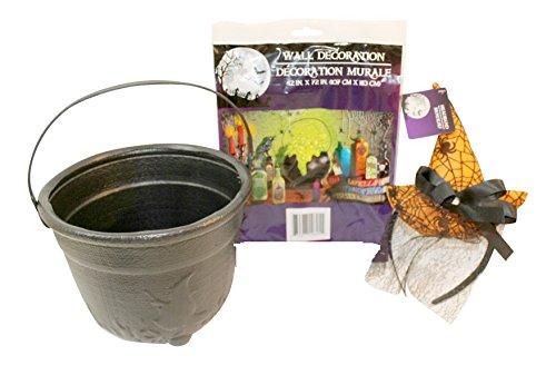 (3 Pc Halloween Witch Photo Prop Bundle: Witch's Cauldron and Potions Photo Backdrop, Orange Witch Hat Headband, Foam Witch Cauldron Bucket)