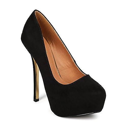 Qupid FK15 Women Faux Suede Almond Toe Platform Gold Bottom Stiletto Pump - Black outlet