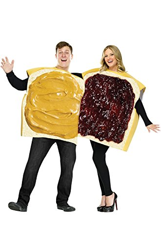Wonder Bread Costumes (FunWorld Peanut Butter And Jelly Set, Tan/Purple, One Size)