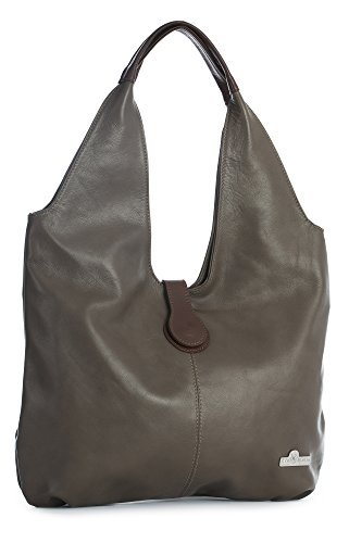 - LiaTalia Genuine Italian Soft Leather Large Boho Hobo Tote Shopper Shoulder Bag - Zoe [Deep Taupe - Brown Trim]