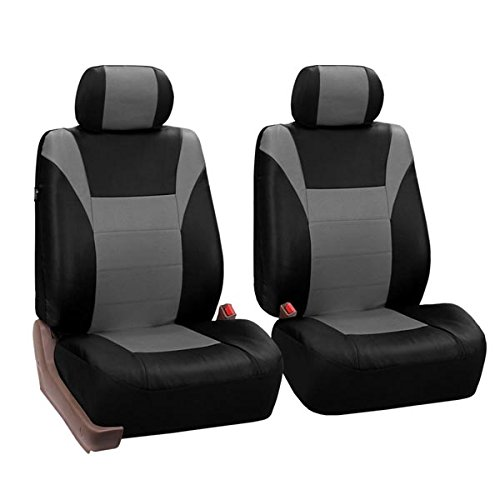 FH GROUP FH-PU003102 Racing PU Leather Car Pair Set Seat Covers (Airbag & Split Ready) Gray / Black Color - Fit Most Car, Truck, Suv, or Van ()
