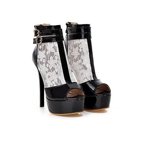 Damen Weiß offener Spitze Reißverschluss PU mit AgooLar Spikes Stilettos Sandalen Solid dwxgvxn