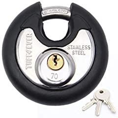 TUFF4EVER Disc Padlock- Protect all your valuables! This round padlock is made of quality materials. Special shapes are effective against theft. Because this special structure has almost no attack surface.Stainless steel inside and outside, e...