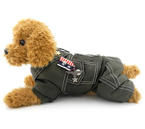 [SELMAI Army General Outfits Dog Costume Badge Dog Coat Jumpsuits Winter Green M, for Small Dog Cat] (Army Dog Costumes)