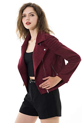 Apperloth Women's Slim Faux Leather Moto Biker Zipper Short Coat Jacket