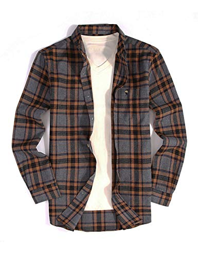 Joey CV Mens Flannel Shirts Plaid Regular Fit Long Sleeve Casual Button Down ()