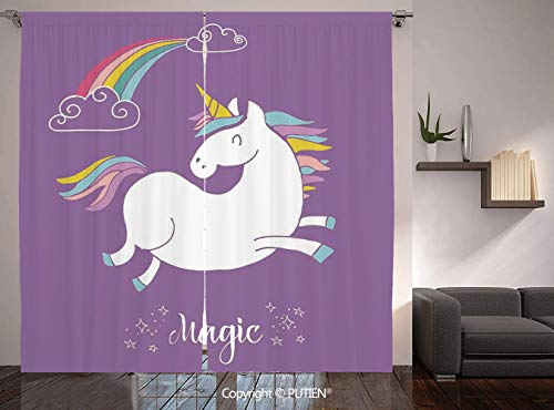Thermal Insulated Blackout Window Curtain [ Unicorn Home and Kids Decor,Mythical Animal with Clouds and Rainbow Figure Fairy Image,Purple White ] for Living Room Bedroom Dorm Room Classroom Kitchen Ca