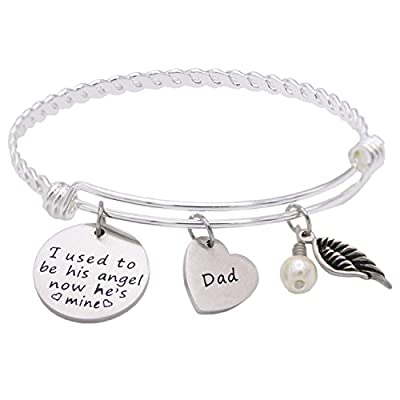 Memorial Necklace I Used To Be His Angel Now He's Mine Necklace / Bracelet Daddy , In Memory Of Loved One Dad