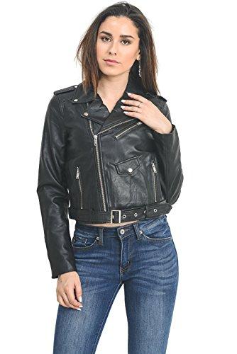 Instar Mode InstarMode Women's Ultimate Faux Leather Moto Biker Short Coat Jacket (JK50713 Black, - Leather Coat Belted