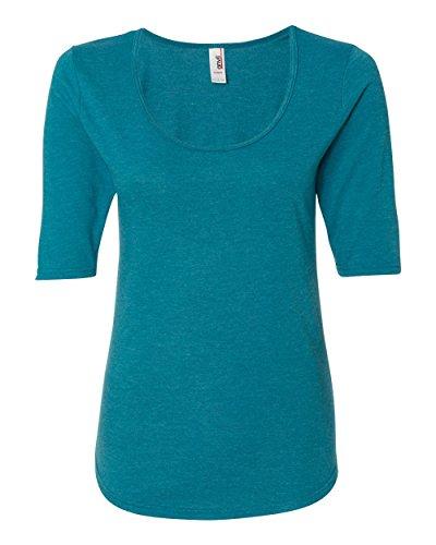Anvil Ladies Triblend Deep Scoopneck 1/2 Sleeve T-Shirt. 6756L - X-Large - Heather Galapagos Blue