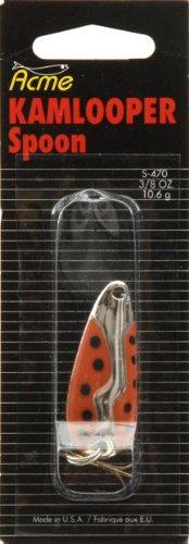 Acme Kamlooper Spoon, Orange/Black Dot Nickel, 3/8-Ounce