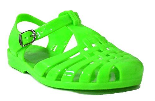Kali Footwear Women's Angel-Low Fisherman T-Strap Jelly Flat Sandals, Neon Green - Footwear Green Neon