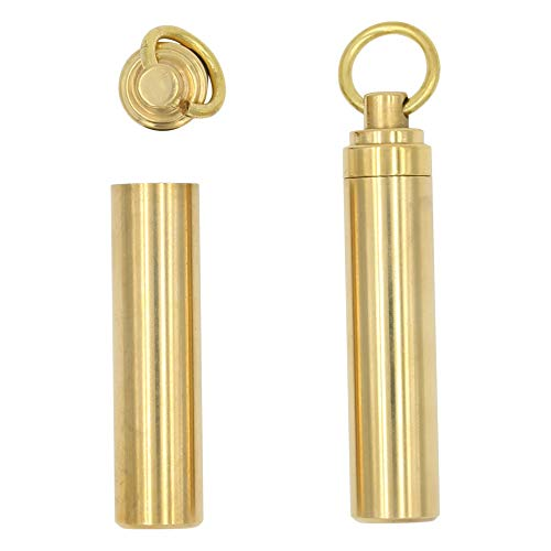 REAL SIC 2-Inch Keychain Pill Holder 2-Pack, Discreet Waterproof Medicine, Medication Container Key Ring - Premium Brass Case with Convenient Top & Bottom Open Design for Camping, Festivals, Outdoors