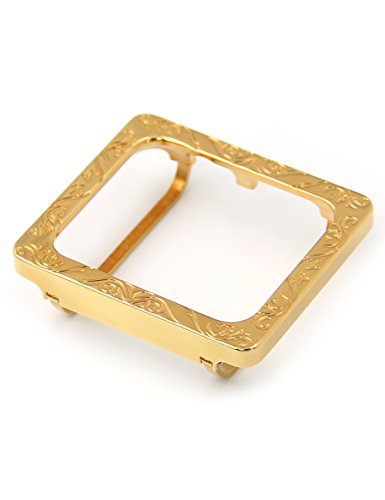 Callancity Gold case 42mm-Luxury Special Square Emboss Design Bezel case Compatible Apple Watch Series - Design Watch Square Case