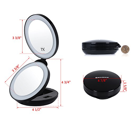 Songmics Led Lighted Travel Makeup Mirror 1x 7x Double