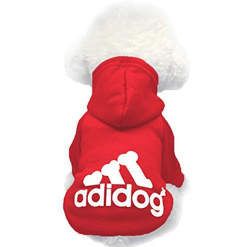 Moolecole Pet Sports Apparel Cat & Dog Cold Weather Coats Dog Hoodies Pet Sweaters (L, Red)