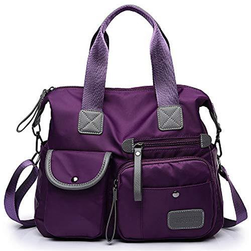FiveloveTwo Women Ladies Multi Pocket Nylon Hobo Top-handle Bags Shoulder Crossbody Bag Totes Satchels Clutches Handbags and Purses Purple ()