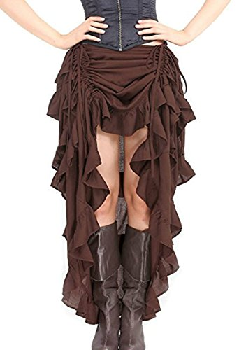 Indrah Women's Rock Steampunk Skirt High Low Victorian Retro Gothic overskirt S-6XL -