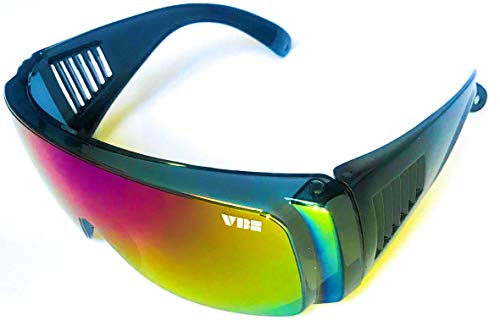 Retro Viper Mirrored Rainbow Multi-Color Lens Riff Raff Pit Sunglasses 80's Party Style Performance Sport Vintage California Cobra Fit Over Wrap Around with Included Micro Fiber Pouch by ()