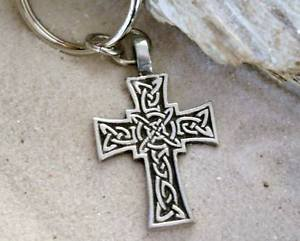 Pewter Celtic Cross with Irish Knot Design Keychain Key Tag (Knot Key Chain)