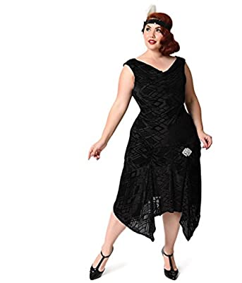 Unique Vintage Plus Size 1930s Style Black Deco Burnout Velvet Velma Flapper Dress