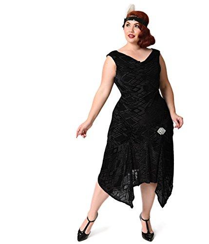 Unique Vintage Plus Size 1930s Style Black Deco Burnout Velvet Velma