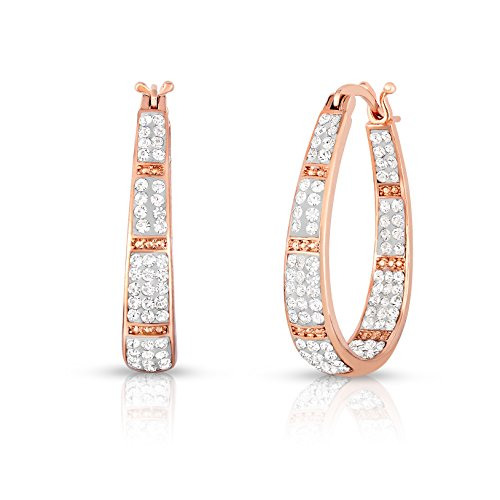 Oval Shape Austrian Crystals - Womens Crystal Inside Out Oval Shape Hoop Earrings, Fashion Hoop Earrings For Women (ROSE GOLD AND WHITE)