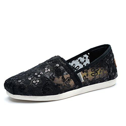 Slip Sneakers TIOSEBON Flats Womens 5929 Breathable on Black Shoes 5tRgwq